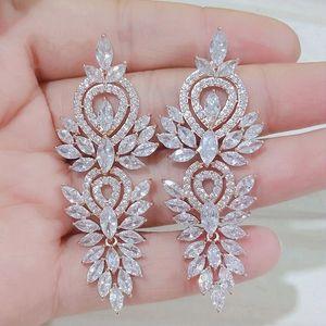 Luxury Rhinestones Cubic Zircon Big Long Dangle Earrings For Women Silver Rose Gold Fashion Leaf Bridal Wedding Jewelry Accessories AL7857