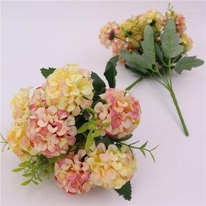 장식 꽃 화환 인공 실크 6 색 수국 말린 다채로운 아름다운 축제 장식 소품 웨딩 플라스틱 꽃다발 심