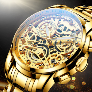 NEKTOM 2021 남성 시계 럭셔리 톱 브랜드 골드 시계 스테인레스 스틸 큰 남성 손목 시계 노란색 석영 스포츠 시계 남자에 대한