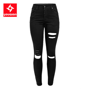 1878 YouAxon Celebrity Strappato Stretch Black Destringed Skinny Denim Broek Ferminio Jean Jeans per le donne