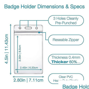 Retractable Reel Id Badge Card Holder + Double Sided Vertical Clear Id Pass Holder Bulk Kit. Nylon jlloYj mywjqq