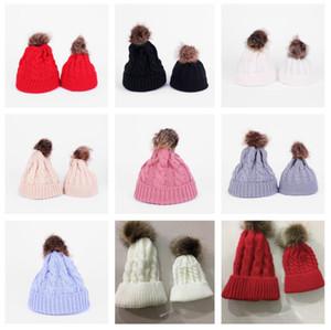 Paprent-child Twist Pom Pom Beanies Crochet Winter Hat Women Kids Children Cuffed Skull Caps Knitted Tuque Ski Slouchy Headwear HWA2555