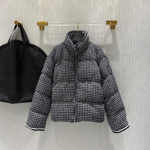 2021 Winter Luxury Paris Designer Timeless Design Elegant Tweed Puffer Down Jacket