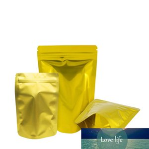 100Pcs Gold Stand Up Aluminum Foil Zip Lock Pouches Self Seal Recyclable Beans Nuts Storage Bag