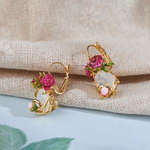 Warmhome Trendy Jewelry Enamel Glaze Copper Cute Red Rose Flower Gem For Women Earrings