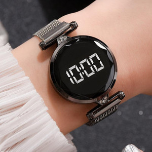 Luxury Digital Magnet Watches For Women Rose Gold Stainless Steel Dress LED Quartz Watch Female Clock Drop Ship