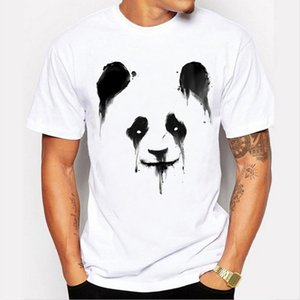 2017 fashion new summer men's personality panda pattern printing T-shirt round neck cotton white T-shirt