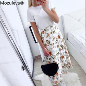 Mozuleva 2020 Spring Summer High Waist Chiffon Women Midi Skirts Casual Floral Print Female Maxi Beach Tutu Skirt femme Q1116