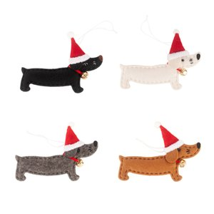Christmas Tree Hanging Ornaments Creative Dachshund Dog Shaped Pendants New Year Holiday Party Decorations Supplies JK2011XB