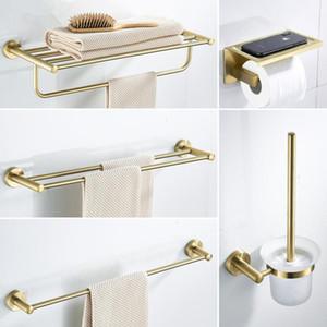 Bathroom Accessories Set Brushed Gold Bathroom Shelf,Towel Rack,Towel Hanger Paper holder,Toilet Brush Holder Bath Hardware Sets