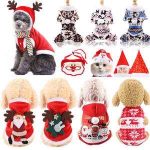 Abrigo de perros Perros de Navidad Ropa de gato Disfraz de traje de Papá Noel para Puppy PET CAT ACCESORIOS DE XMAS PARA EL FESTIVAL AÑO NUEVO TRAJES DE VACACIONES (