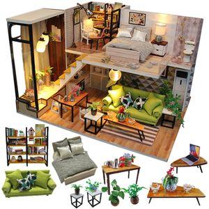 Cute Doll Boneca Mobiliário Miniatura Dollhouse DIY Miniatura Casa Room Box Teatro Brinquedos para crianças Casa DIY Dollhouse N LJ201126