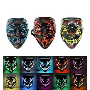 10 Styles Cool Halloween Mask LED Mask Light Up Scary Skull Glow Masks For Adult Kids Halloween Rave Party Scary Masks