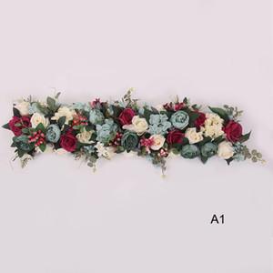 100x25cm longue arcification arc fleur table de rangée de fleur de fleur de fleur de fleur de fleur avec cadre en mousse Coureur de centre de travail de mariage décoratif décoratif