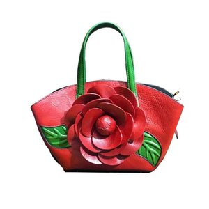 New Fashion Flower bag Women Genuine Leather Handbags Luxury Women's Handbag Tote Real Cowhide Leather Bag