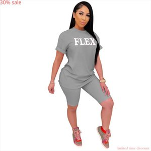 Fashion Summer Casual Short sleeve Letter Print Two Piece Pink Sets Womans Tracksuits Sweat Suits Short Sets 2020 Womens Set
