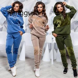 FengGuilai 2019 Sonbahar Kış Eğlence Bayanlar Kapşonlu Kazak Spor Takım Elbise kadın Moda Büyük Boy İki Parçalı