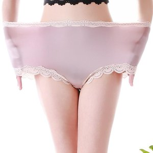 High Waist Large Size Panties Sexy Seamless Satin Silk Briefs Underwear Lace Trim Soft Stretchy Lingerie Women Panties Pink 5xl