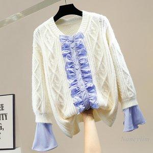 Striped Bell Sleeve Sweater Women Single-Breasted Twist Knitted Cardigan Coat Female Knitwear Loose Top Nancylim