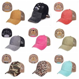Camouflage Ponytail Cross Criss Washable Retro Ball Unisex Sunshade Visor Cap Hat Outdoor Snapbacks Caps DHD1403