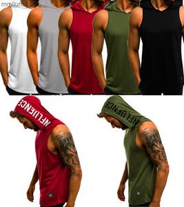 Vest Mens Gym Top Singlet Bodybuilding Hoodie Tank Sleeveless Fitness T-shirt