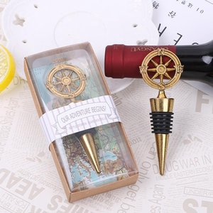 New Arrival Wedding Favors Rudder Wine Bottle Stopper Nautical Themed Compass Wedding Shower Favors Bar Tools RRC3960