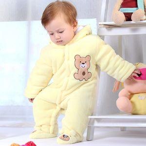 Baby winter romper warm flannel plush jumpsuit Baby Girl boys bear animal costume Hooded newborn baby bear pajamas overalls HH 201201