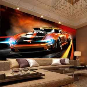 Photo Wallpaper Modern Creative Yellow Sport Car 3D Stereo Mural Living Room Bedroom Interior Design Wall Papers Papel De Parede