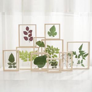 Original Holz Glas Blatt Floating Frame Kreative Dekor Rahmen für Bild Foto Blätter Blumen Botanische Insektenprobe 12 Größen