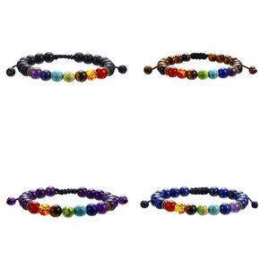 7 Chakra Piedra natural Encanto Pulseras Tiger Ojo Lapis Lazuli Amatista Amitado Beads Cadenas Cuerda Brazalete para Mujeres Hombres Artesanía Joyería 94 K2