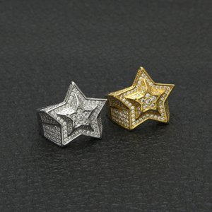 Hip Hop Mens Gold Ring Jewelry High Quality Five-pointed Star Cubic Zircon Gold Rings For Men