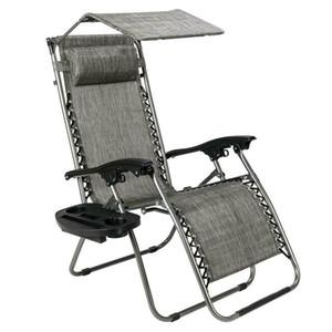 Sıfır Yerçekimi Katlanır Veranda Lounge Plaj Sandalyeleri W / Gölgelik Kupası Tutucu