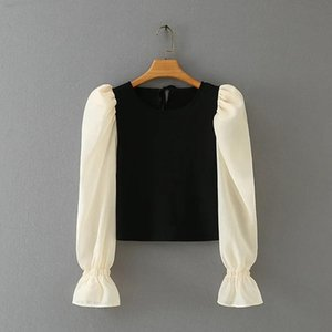 Woman Contrast Color Puff Sleeve Splicing Knitting T Shirt Casual Femme O-Neck Slim Tops T1373