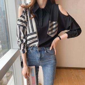 Hot Drill Strapless Shirt Long Sleeve Printed Women's Blouse Spring Autumn Shirt Laple Pullover Ladies Blouse Fashion Trend Shirt
