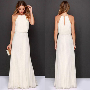2019 white dress Womens Evening Party summer solid elegant dress Formal Chiffon Sleeveless Prom Long Maxi Dress robe femme 0.4