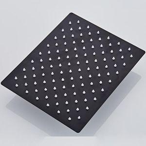 Langyo Black Square Pluie Acier inoxydable Tête de douche Ultrathin 2 mm 8 9 10 12 pouces Choix du plafond mural de salle de bain WMTPXY HomeIntentrition