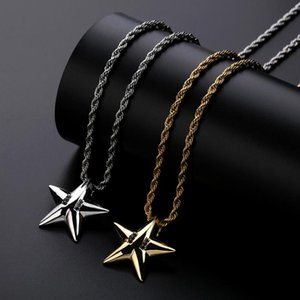 Europe and the United States cross-border explosions accessories five-pointed star hip-hop men and women pendant gold-plated jewelry necklac
