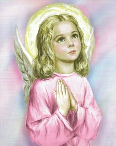 Immagine cattolica Dolce rosa Guardian Angel Guardian Praying Bambina Religious Home Decor Pittura ad olio su tela Immagini di tela di arte della parete 201123