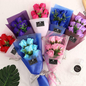 7 장미 꽃의 작은 꽃다발 결혼식을위한 비누 꽃 발렌타인 데이 어머니의 날 선물 선물 장식 꽃 EED4215