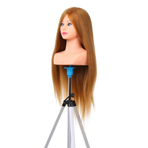 100% İnsan Saç Manken Kafası Örgü Manken Kuaför Kuaför için Profesyonel Kozmetoloji Kukla Kafa W10522