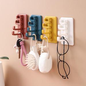 Nail-Free Sticky Hook Key Holder Wall 4 Hooks Rotatable Storage Rack Living Room Bathroom Creative Coat Hanger Organizer