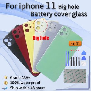 For iphone 11 high quality brand new original Big hole battery door glass back cover shell+adhesive sticker+tools for reparing