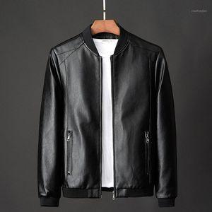 Faux de fourrure pour hommes Vestes en cuir Bombardier en cuir pour 2021 style coréen mince mince vêtements tendance hommes manteaux1
