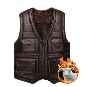 Holyrising Mens Luxury Full Sheepskin Leather Gilet Motorcycle Vest for Men Pockets Black Brown plus Leather Coat winter jacket 201214