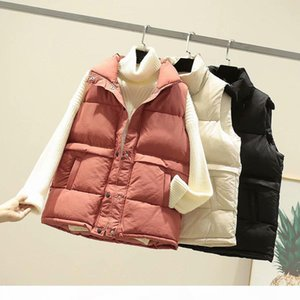 Women Winter Down Vests Casual Pure 3 Colors Pocket Puffer Vests Coats 2020FW Outerwear Womens Clothing Autumn
