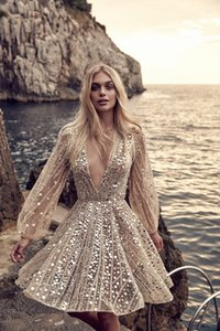 Sexy V Neck Short Homecoming Dresses With Sparkling Sequin Beaded Long Sleeves A Line Cocktail Party WEar