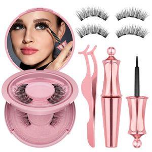 Magnetic Eyelashes with eyeliner natural 3D Mink False Fake Eyelashes Liquid Eyeliner & Tweezer Set & Waterproof Eyeliner Set FDA MSDS ROHS