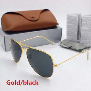 New high quality men's and women's vintage Pilot sunglasses Gold frame black 62mm glass lens UV400 protection brown case