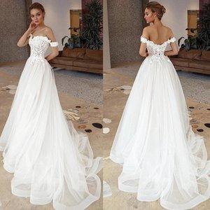 Lace A Line Wedding Dress 2021 3D Floral Appliques Sweep Train Bridal Gowns Boho Garden Wedding Vestidos