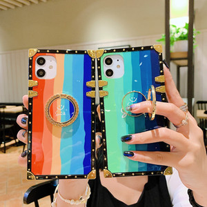 Square Shockproof Rainbow Hard PC Back Cover For Iphone 12 11 Pro Max XR X XS MAX 7 8 Plus Samsung S20 S10 S9 Note 20 10 9 Case
